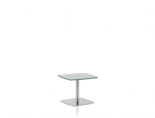 Pledge Box 480mm x 480mm Breakout Table With Frosted Glass Top With Flat Square Base